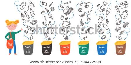 Organic Waste Throwing in Bin Vector Illustration Stock photo © robuart