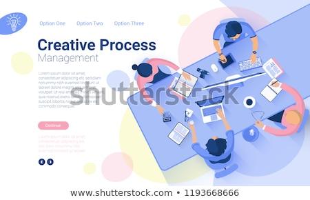 ストックフォト: ビジネス · 技術 · セット · アイソメトリック · バナー · 紫色