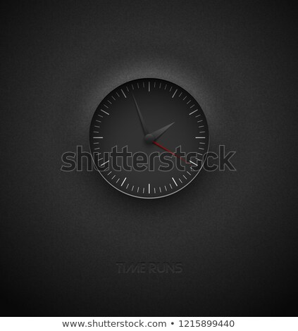 realistic deep black round clock cut out on textured plastic dark background red round scale stock photo © iaroslava