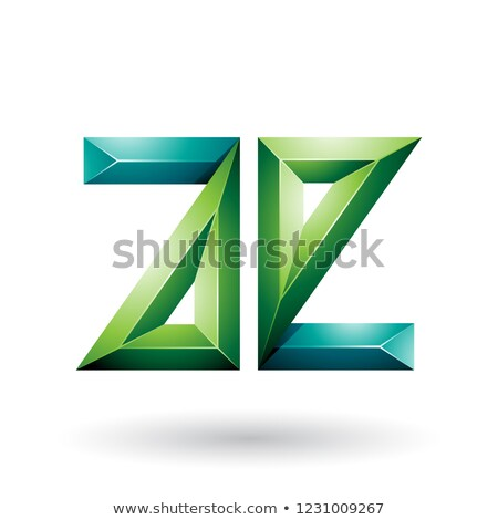 light and dark green 3d geometrical embossed letter e vector ill stock photo © cidepix