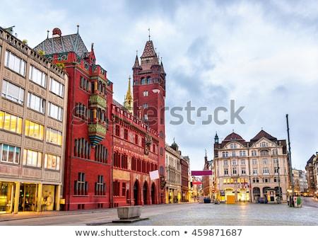 Vermelho prefeitura Suíça ver cidade relógio Foto stock © boggy