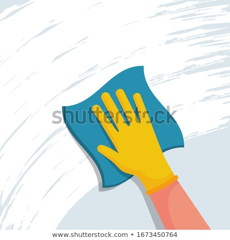 woman cleaning table with microfiber cloth at home Stock photo © dolgachov