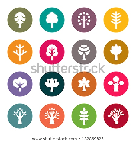 Trees and Bushes Pink Color Vector Silhouette Icon Stock photo © robuart