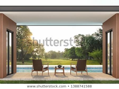 Edifício jardim ilustração abstrato verde edifícios Foto stock © lenm
