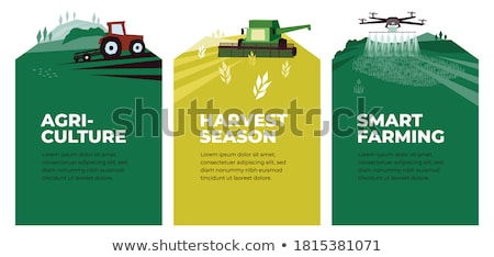 Plow Plowing Machinery Poster Vector Illustration Stock photo © robuart