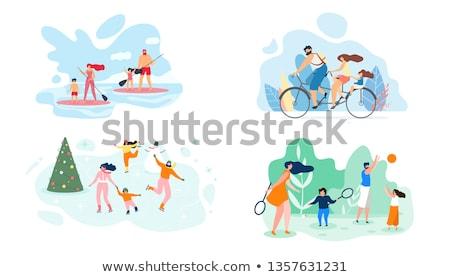 garçon · fille · ski · enfant · art · hiver - photo stock © robuart