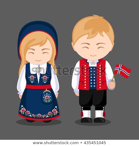 Kid девушки Норвегия флаг иллюстрация Сток-фото © lenm