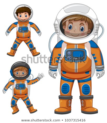three kids in astronaut outfit stock photo © colematt