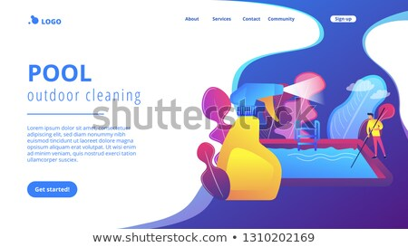 Pool and outdoor cleaning app interface template. Stock photo © RAStudio