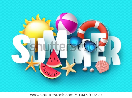 vector hello summer holiday illustration with 3d typography letter on ocean blue background tropica stock photo © articular