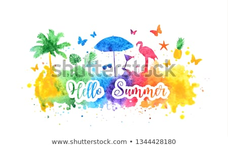 Hello summer. Watercolor banner with butterflies Stock photo © balasoiu