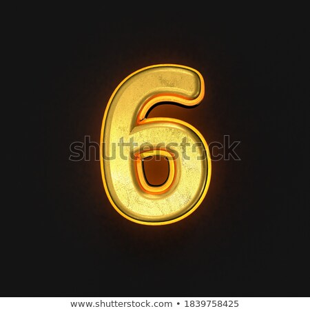 Yellow outlined font Number 6 SIX 3D Stock photo © djmilic