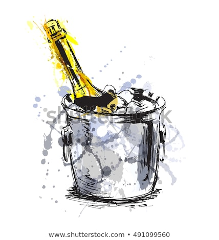 Champagne Bottle In Bucketful With Ice Color Vector Stock photo © pikepicture