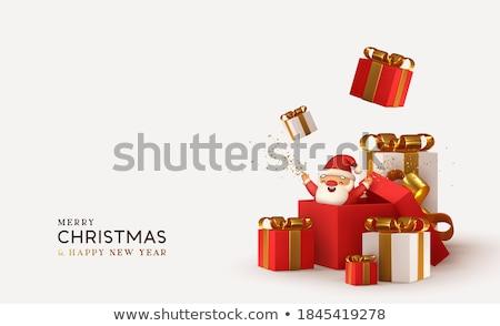 Vidám karácsony elrendezés piros arany fa Stock fotó © solarseven