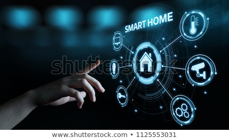 Person Using Home Security System On Mobile Phone Stock photo © AndreyPopov