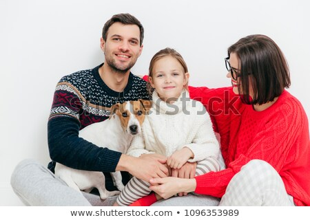 Família feliz três família cão Foto stock © vkstudio