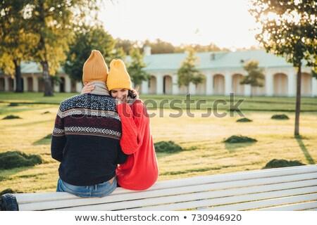 Hermosa femenino suelto rojo suéter amigo Foto stock © vkstudio