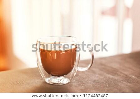 Espresso tasse verre grains de café boire Photo stock © grafvision