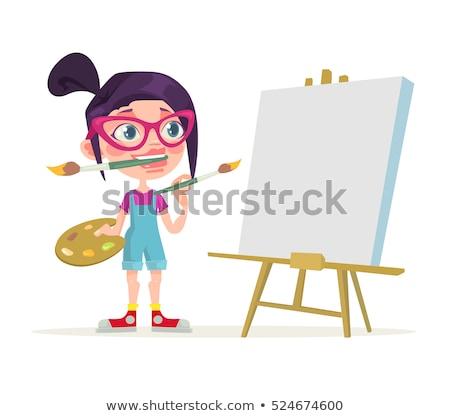Rajz művész lány festőállvány mosolyog kép Stock fotó © Voysla