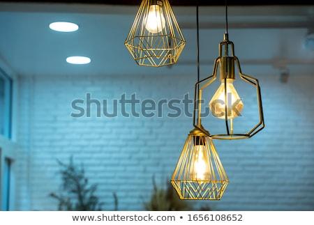 Izzó lámpák akasztás plafon alulról fotózva szett Stock fotó © dashapetrenko