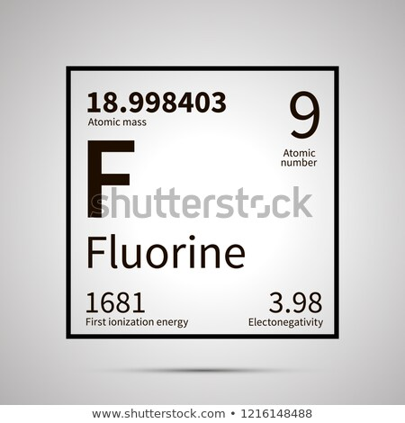 Fluorine chemical element with first ionization energy, atomic mass and electronegativity values ,si Stock photo © evgeny89