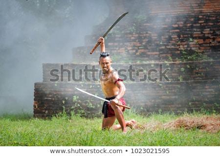 Mujer guerrero héroe espada campo de batalla armadura Foto stock © jossdiim