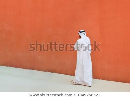Arabski pomarańczowy ściany malowany Maroko Zdjęcia stock © smithore