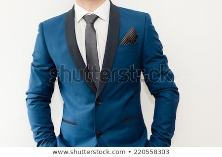 Szürke öltöny kék nyakkendő kép üzlet Stock fotó © gregory21