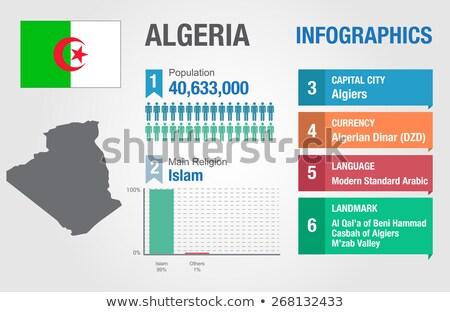 Алжир карта флаг Африка иллюстрация Сток-фото © ajlber