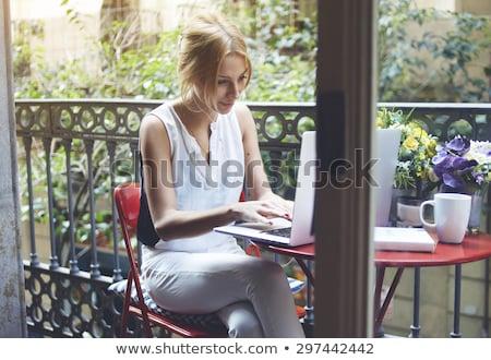 profi · női · reggeli · megnyugtató · laptop · konyha - stock fotó © wavebreak_media