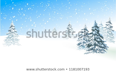 Foto stock: Snow Tree Vector Background Card