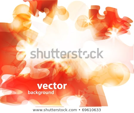 Glossy yellow 3d puzzle on paper Stock photo © make