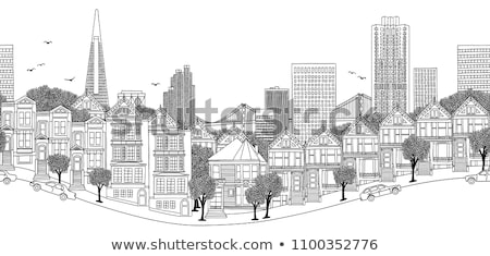 Renkli şehir panorama soyut spiral hatları Stok fotoğraf © obradart
