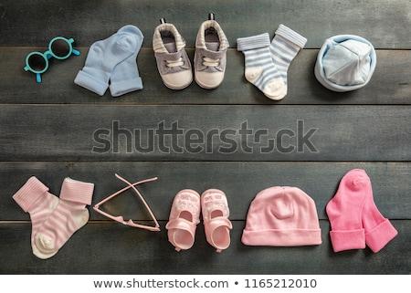 Bebek ikizler duş kart mutlu doğum günü Stok fotoğraf © balasoiu