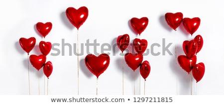 coração · balões · dois · voador · vermelho · beijo - foto stock © ixstudio