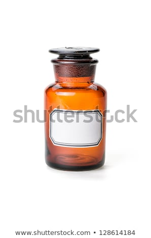 Apothecary bottle made of brown glass with empty label Stock photo © Zerbor