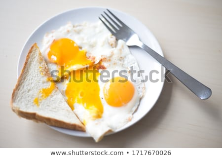Tükörtojás pirítós kávé tojás asztal dzsúz Stock fotó © M-studio