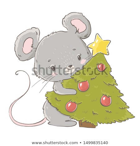 greeting card with cute little rat Stock photo © balasoiu