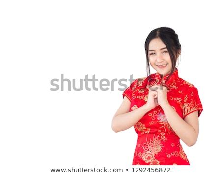 Bela mulher magnífico vestido vermelho isolado preto Foto stock © Victoria_Andreas