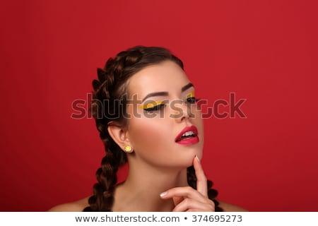 красочный · идеальный · женщину · зубов · красные · губы · рот - Сток-фото © lunamarina