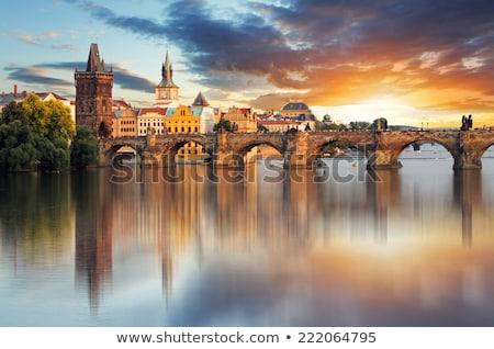 Prag · kış · kale · köprü · kule · su - stok fotoğraf © dashapetrenko