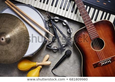 hangszerek · fekete · sziluettek · kilenc · tér · hálózat - stock fotó © mannaggia