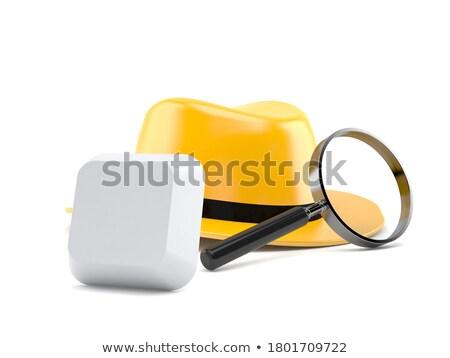 Fehér billentyűzet nyomozás gomb szó mikroszkóp Stock fotó © tashatuvango