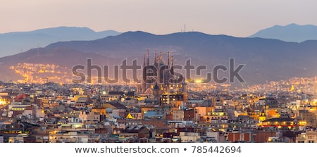 Barcelona pôr do sol silhueta cidade ver edifício Foto stock © photosil