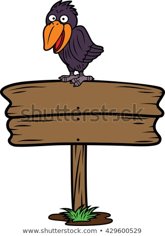 Crow perching on a signboard Stock photo © bmonteny