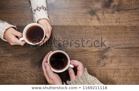 coffee cup black wooden board brown white Stock photo © fotoaloja
