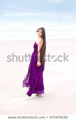 Belo menina adolescente roxo vestido menina Foto stock © jarenwicklund