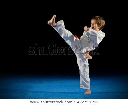 Foto d'archivio: Piccolo · ragazzo · combattere · posizione · shirt