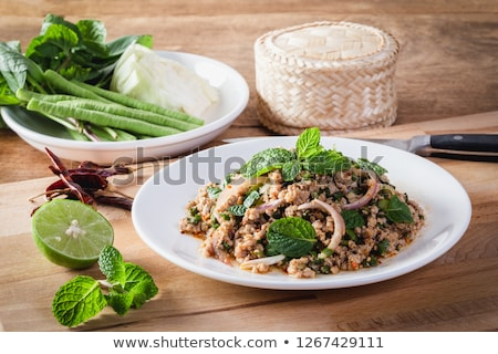 Spicy minced pork salad Stock photo © eddows_arunothai