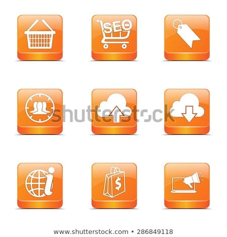 seo · internet · teken · vierkante · vector · oranje - stockfoto © rizwanali3d